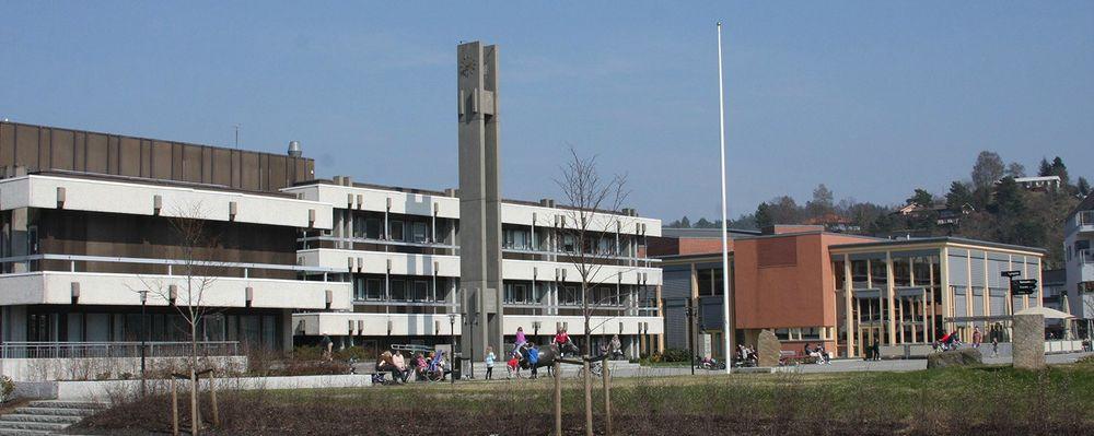 Lyngdal rådhus som ligger i tettstedet Alleen, kommunens administrasjonssenter.