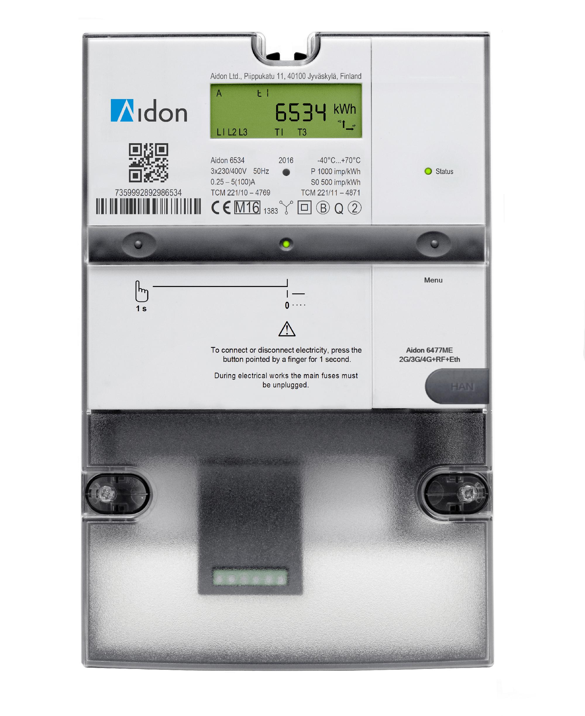 Bilde av en AMS strømmåler fra Aidon