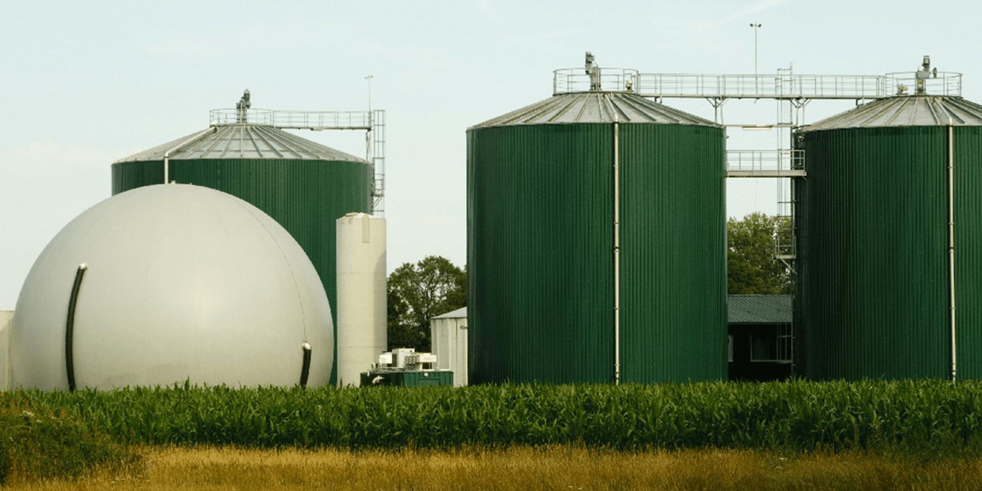 Bilde av et biogasskraftverk i Tyskland