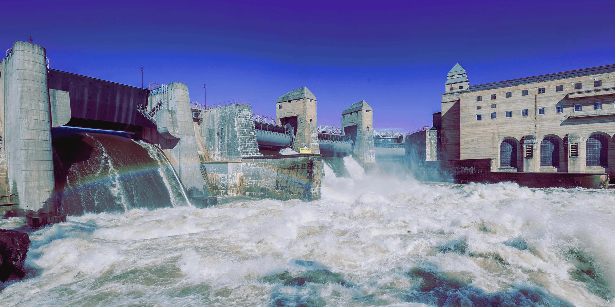 Bilde av en et vannkraftverk for å illustrere et mulig opphav til strøm