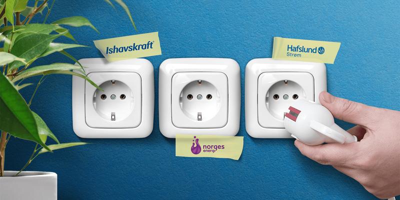 Illustrasjonsbilde: Bilde av tre stikkontakter som symboliserer ulike strømleverandører