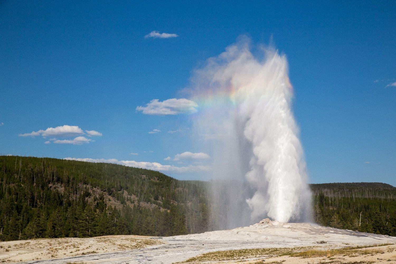bilde av geysiren Old Faithful i Yellowstone nasjonalpark som har utbrudd